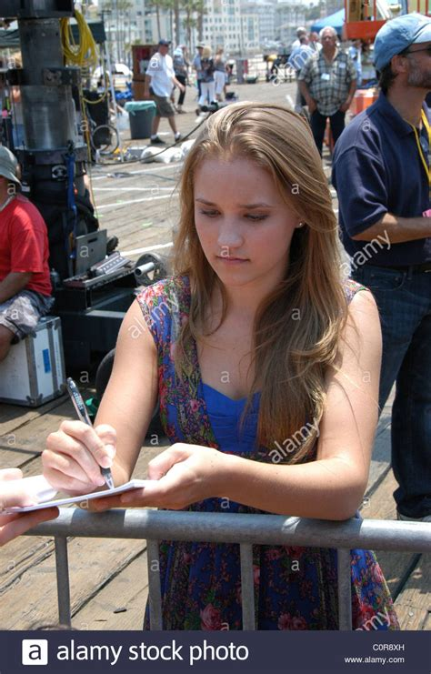 Emily Osment Signs autographs on the set of 'Hannah
