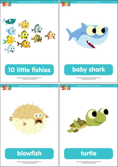 10 Little Fishies Flashcards - Super Simple