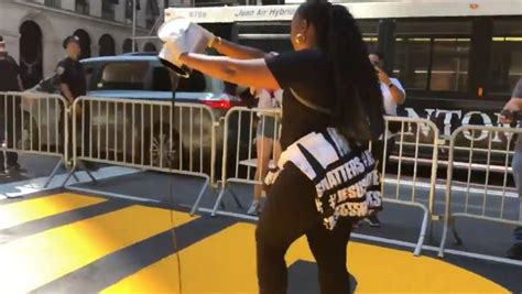 Anti-BLM Protester Pours Paint Over NYC BLM Mural
