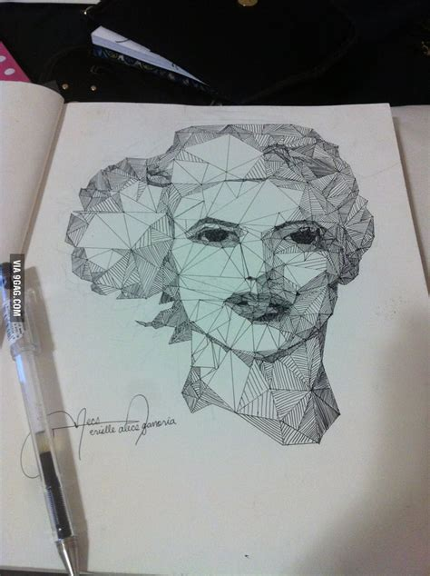 My art project: Draw only with straight lines - 9GAG