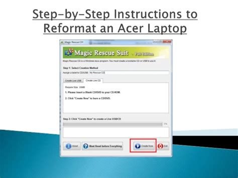Step by-step instructions to reformat an acer laptop