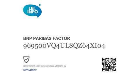LEI and Swift code of BNP PARIBAS FACTOR   France   LEI