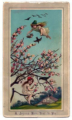 Victorian New Year Graphic - Fairy Girls with Cherry