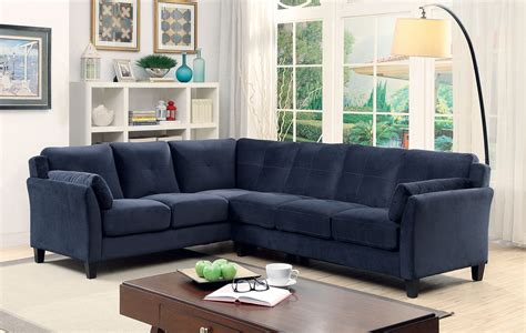 6368nv Nvay blue contemporary sectional sofa furniture of