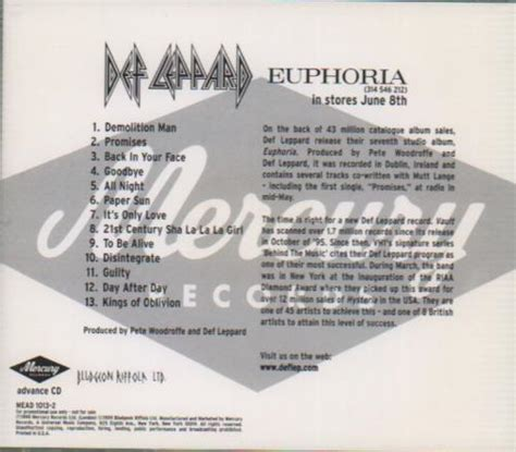Def Leppard Euphoria Records, LPs, Vinyl and CDs - MusicStack