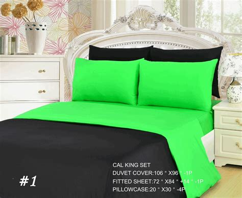Tache 4-6 Piece Solid Neon Lime Green and Black Duvet