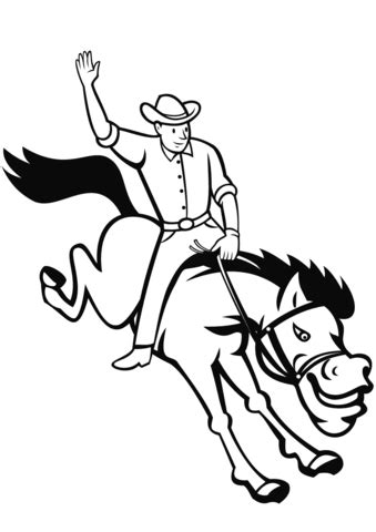 Rodeo Cowboy Riding Bucking Bronco coloring page | Free