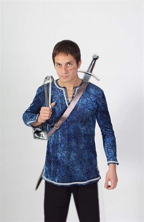 Blue Medieval Renaissance Elven Tunic for man S size for