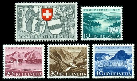 Swiss Stamps - Pro Patria Issues of 1952-1957