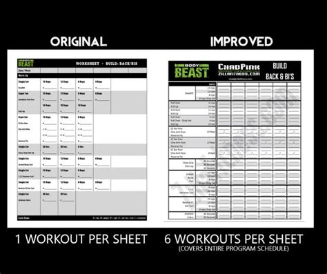 Improved Body Beast Worksheets - Free Download! | Beast