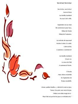 Fall themed poems in French including Thanksgiving and