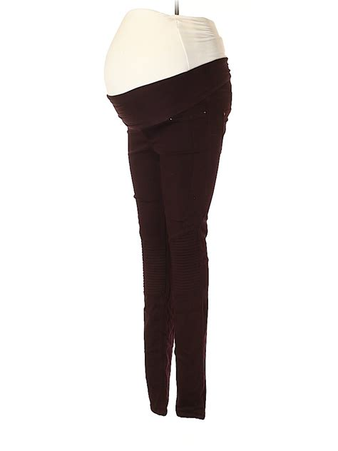 H&M Mama Solid Brown Burgundy Casual Pants Size 6