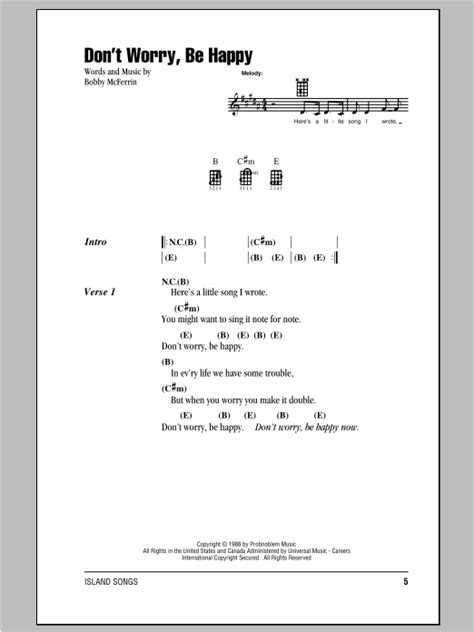 Don't Worry, Be Happy | Sheet Music Direct