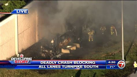 2 dead after RV crashes, catches fire on Turnpike in South