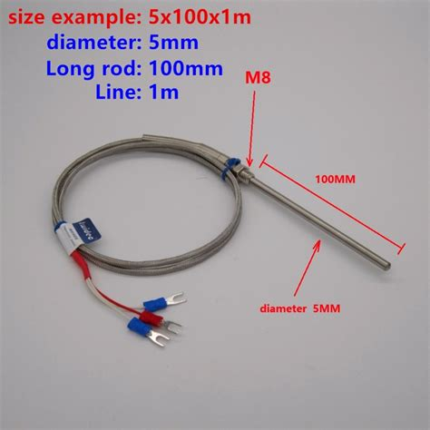 High quality PT100 probe 2m RTD Cable Stainless Probe